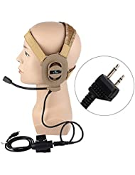 Z-Tactical Bowman Elite II Tactical Military Headset with U94 Kenwood Version Pins PTT Tan by Z-Tactical