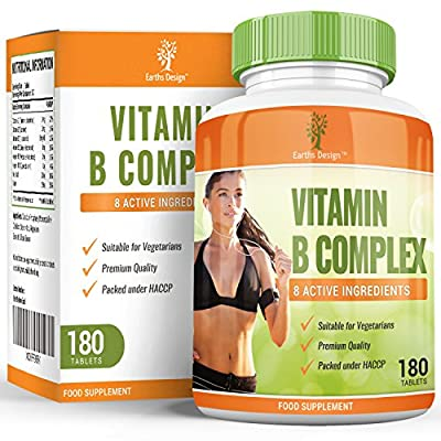 Vitamin B Complex, High Strength Supplement, Contains All 8 Vitamins: B1, B2, B3, B5, B6, B12, D-Biotin & Folic Acid, B Complex Will Increase Energy & Combat Fatigue, 6 Month Supply - 180 tablets from Earths Design