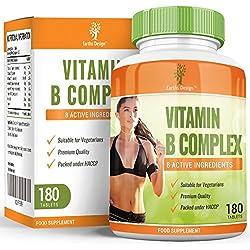 Vitaminas Complejo B - Vit B1 B2 B3 B5 B6 B12 - Con Biotina y Ácido Fólico - Para Hombres y Mujeres - Apto Vegetarianos - 180 Pastillas (Suministro Para 6 Meses) de Earths Design