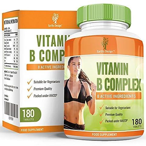 Complexe de Vitamine B - Hautement Dosé - B1 (Thiamine) B2 (Riboflavine) B3 (Niacine) B5 (Pantothénique) B6 B12 Biotine et Acide Folique - Convient aux Végétariens - 180 Comprimés de Earths Design