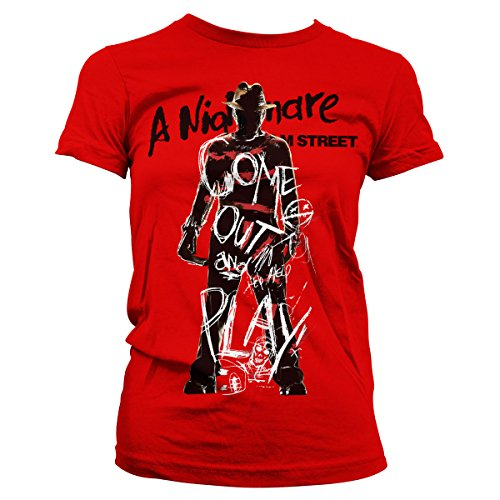Merchandise Nightmare On Elm Street - Come Out And Play Girly Tee (Red), Small ()