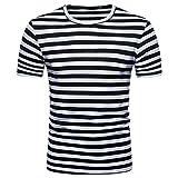 OSYARD Freizeit Bluse Herren,Sommer Hemd Casual Tops mit Streifen und Rundhals, Männer Pullover Kurzarm T-Shirt