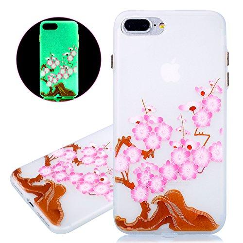 Coque iPhone 7 Plus, Etui iPhone 7 Plus, ISAKEN Peinture Style TPU Coque pour Apple iPhone 7 Plus, Ultra Mince Souple TPU Silicone Lumineux Fluorescents Dans Le Noir Etui Housse de Protection Coque Ét fleur rose