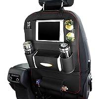 LvRao Multifunktional PU Leder Auto R/ückenlehnenschutz #1 Beige Reise-Utensilien und Spielzeug R/ücksitz Organizer f/ür Kinder