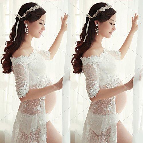 Domybest 3pcs weißes Spitzenkleid schwangere Fotografie Requisiten-extravagantes langes Kleid