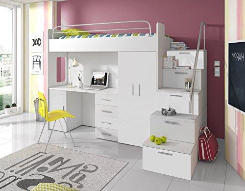 Furnistad | Hochbett für Kinder Sky | Kinderhochbett mit Treppe, Schreibtisch und Schrank (Option rechts, Weiß)