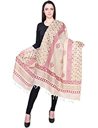Beige With Pink Border Printed Khadi Silk Dupatta