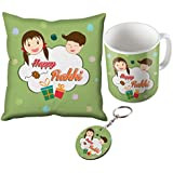 Sky Trends Happy Rakhi With Multicolor Babbles And Smile Rakhi Design Gifts For Brother And Sister For Rakshabandhan Mug With Cushion Cover Keychain Combo