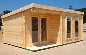 Deluxe Cabanne en bois rond/jardin/Office Building/abri de jardin avec fenêtres 18.37 x 12.79 cm environ