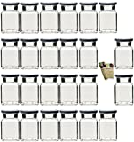 gouveo 24er Set Einmachgläser Quadrat 150 ml Drehverschluss Silber und 28-seitige Flaschendiscount-Rezeptbroschüre, Vorratsgläser, Marmeladengläser, Gewürzgläser, Einweckgläser