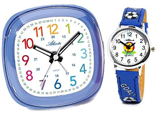 Kinderwecker ohne Ticken für Jungen Blau + Armbanduhr Fußball - Atlanta 1736-5 KAU
