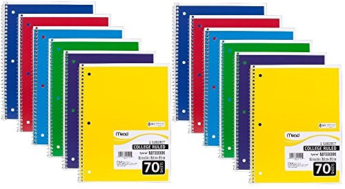 mead-spiral-notebook-college-ruled-1-subject-70-sheets-8-x-105-inches-assorted-colors-05512-pack-of-