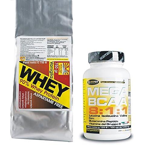 90 whey proteine gr 3000 cacao + BCAA 8:1:1 con Glutammina Peptide e Vitamine del (100% Pure L-glutammina In Polvere)