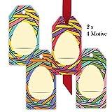 8moderne, multicolores de Pâques cadeau pendentif | Cartes cadeau | Pendentif | Suspension Étiquettes papier | Balises Format 5,5x 11cm avec œuf de Pâques pour écrire .8 Anhänger