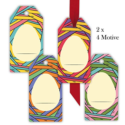 Bunte Hängen (32 moderne, bunte Osternest Geschenkanhänger | Geschenkkarten | Papieranhänger | Hänge Etiketten | Tags Format 5,5 x 11cm mit Osterei zum beschriften)