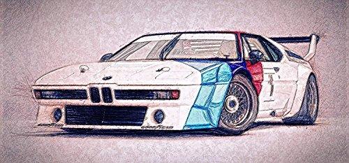 Stefan Langer - Kunst-ist-cool Deutschland Designer Mousepad BMW M1 Turbo Klassiker Oldtimer, Rennsport aus Freude am Fahren