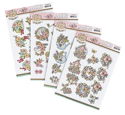 Find It 3D-Stanzbogenset Stanzbögen Springtastic Frühling Motivbögen Papier Basteln 4 Bögen