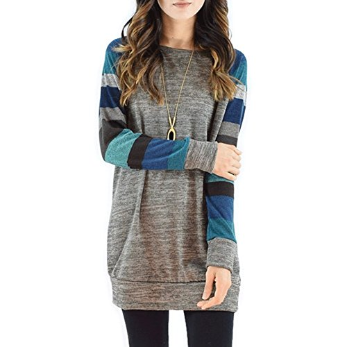 Magic Zone Damen Langarmshirts Rundhals Tunika Pullover Shirt Oberteile (Womens Seide Crew)