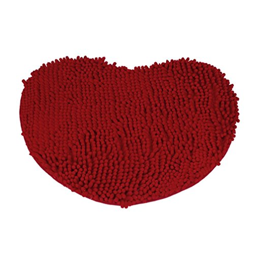 Winkey Wohnzimmer Schlafzimmer Shaggy Teppich Küche, 40* 50cm Schlafzimmer Fußmatte HERZFORM Teppich flauschig Chenille Teppich Kissen, Korallenvlies, rot, 40*50cm (Greifer Stuhl Kissen Rot)