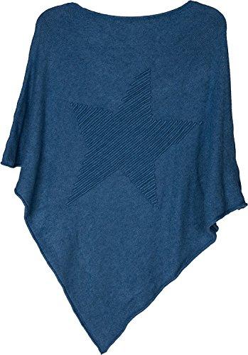 styleBREAKER Feinstrick Poncho mit Stern in 3D Struktur, Rundhals, Damen 08010051, Farbe:Blau
