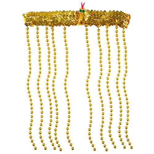 Amosfun Haarschmuck Ägypten Perlenmütze Kopfstück mit Schlange Deko Bauchtanz Kopfschmuck Tanz Kostüm Zubehör (Golden)