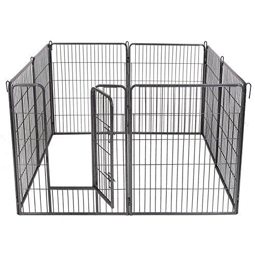 Songmics 8-tlg Welpenauslauf für Hunde Kaninchen und Andere Kleine Haustiere 80 x 100 cm (B x H) Grau PPK81G - 6