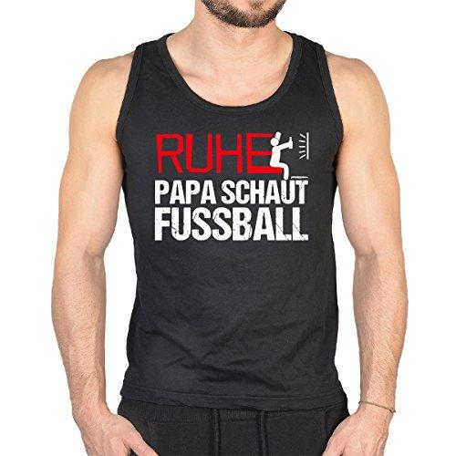 Herren Tank Top mit coolem Fussball-Aufdruck - RUHE Papa schaut Fussball - Super Geschenkidee! Schwarz