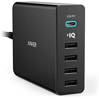 Anker Caricatore da tavolo Premium 5 porte USB/USBC 60W PowerPort+ 5 USB-C con Power Delivery per Apple MacBook & Nexus 5X /6P,  iPhone, iPad, Samsung & Altri