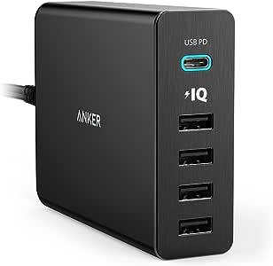 Anker PowerPort+ 5 Premium 5-Port 60W USB C Ladegerät mit Power Delivery für MacBook Pro/Air 2018, iPad Pro 2018 und PowerIQ Technologie für iPhone X /8 / 8 Plus, iPad, Samsung S9 / S8 & Weitere