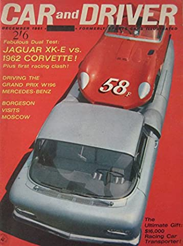 Car & Driver magazine 12/1961 featuirng Jaguar E-type, Corvette, Porsche, Mercedes W196