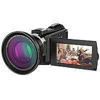 كاميرا فيديو رقمية فائقة الدقة بتقنية عالية الدقة بتقنية Ordro 4K مع ميكروفون خارجي، وعدسة عريضة الزاوية، وعدسة بقلنسوة/ IR Night Vision 24MP Wifi 60fps