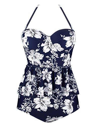 Angerella Damen Vintage Blumenmuster Ruffles Tankini Top Schlanke Taille Retro Bikini Set Blau