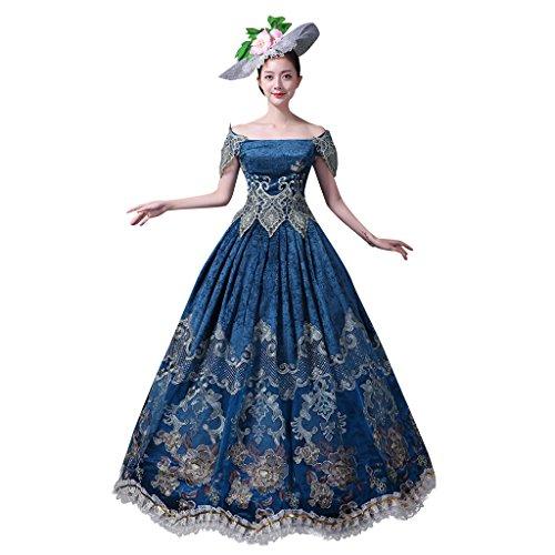 (Cosplayitem Vintage Bestickt Viktorianischen Kleid Kostüm Schulterfrei Kleid für Damen Mädchen)