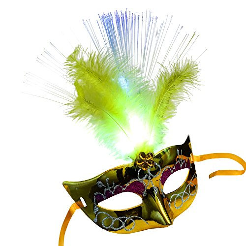 Prinzessin Venezianische Kostüm - Fluffy Slime Clode® Frauen venezianische LEDFiber Maske Maskerade Kostüm Party Prinzessin Federmasken (Gelb)