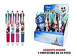 Disney Lot de 24stylos 4couleurs avec présentoir Motifs: Mickey, Avengers, Spiderman, Reine des neiges, Princesses, Minnie