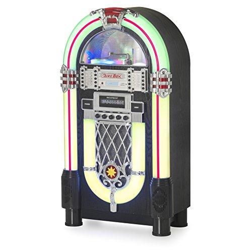 Tavolo jukebox con radio AM/FM, lettore CD, USB/SD Card Reader, MP3playback & display digitale–Illuminazione–effetto legno Ricatech rr510-uk Juke box Con LED Retro Full Size Nero