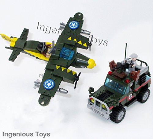 Ingenious Juguetes II Guerra Mundial Militar Avión Aire Ataque & Ejército Camión / 241pcs Bloques de Construcción Construcción Set #1707