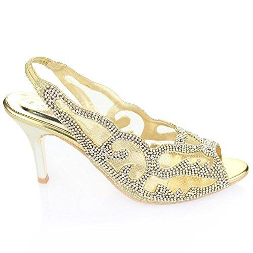 Aarz femmes Ladies Wedding Party Soirée talon moyen Peep Toe Diamante Sandales de mariée Chaussures Taille (Or, Argent, Marron) Or