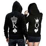 King Queen Pullover Pärchen Set - 2 Hoodies für Paare - Couple-Pullover - Geschenk-Idee - Herz/Pik -schwarz (King 3XL + Queen XXL)