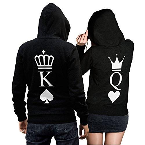 *King Queen Pullover Pärchen Set – 2 Hoodies für Paare – Couple-Pullover – Geschenk-Idee – Herz/Pik -schwarz (King M + Queen M)*