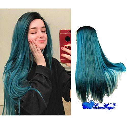 Eseewigs Longue Dark Root Bleu et Vert mélangé couleur Ombre Deux Tons Cosplay Partie Perruque Lourde Droite Dentelle Avant Résistant À La Chaleur Synthétique Perruque de Cheveux pour les Femmes 24 pouces