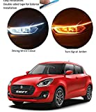 Auto Snap Car Led Strip for Headlight White Daytime Running Light, Turn Signal Yellow/Amber Indicator Light Lamp Matrix…