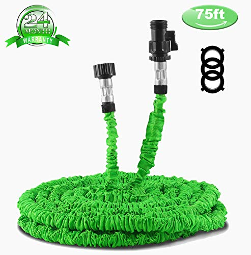 Garden Hose 75ft, Expandable Water Hose With Triple Layer Latex Core, Stamped Aluminum Joints & Extra Strength Fabric - Expanding Hose For All Your Watering & Car Wash Use