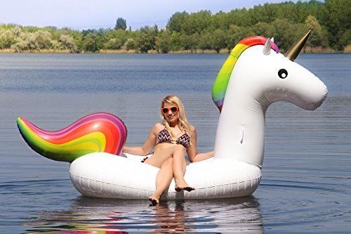 #RIESIGES aufblasbares Einhorn – als Luftmatratze / Schwimminsel für den Pool (XXL Schwimmtier)#
