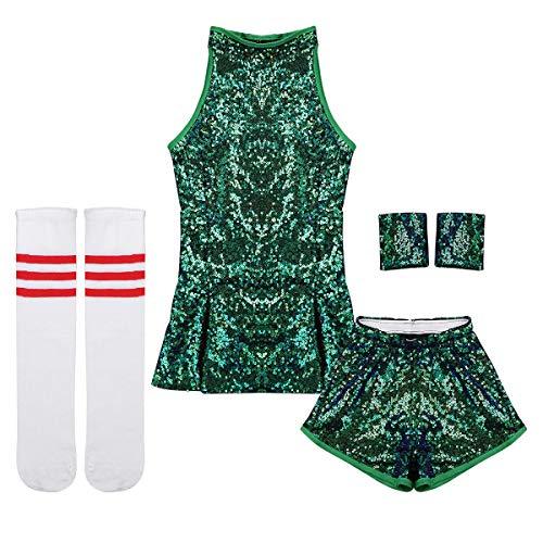 Tiaobug Mädchen Cosplay Kostüm Set Tanzkleid Outfits ärmellos Top + Hot Pants + Armband + Socken Kinder Hip-Hop Jazz Cheer Leader College Strümpfe Grün ()