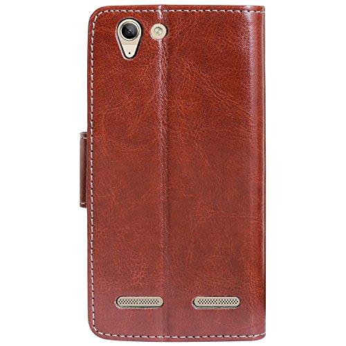 Artificial Leather Flip Cover Case for Lenovo Vibe K5 Plus (Brown, LE2-A-LE2-A)