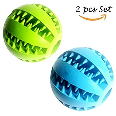 Dog Treat Toy Ball, Rubber Dog Food Ball,Dog Tooth Cleaning Toy Ball, Interactive Dog Toys (1*Blue + 1*Green) 7.6cm
