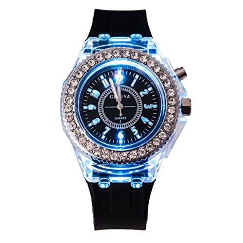 Abeillo Unisex Frauen Männer Genf LED-Hintergrundbeleuchtung Kristallquarz Armbanduhr Sport
