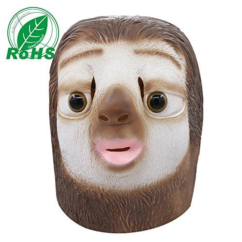 Faultier Maske, Halloween Kostüm Party Latex Tierkopf Maske für ()