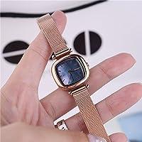 HK Reloj de Cuarzo Cuadrado Simple y Elegante para Mujer,Rose Gold Blue